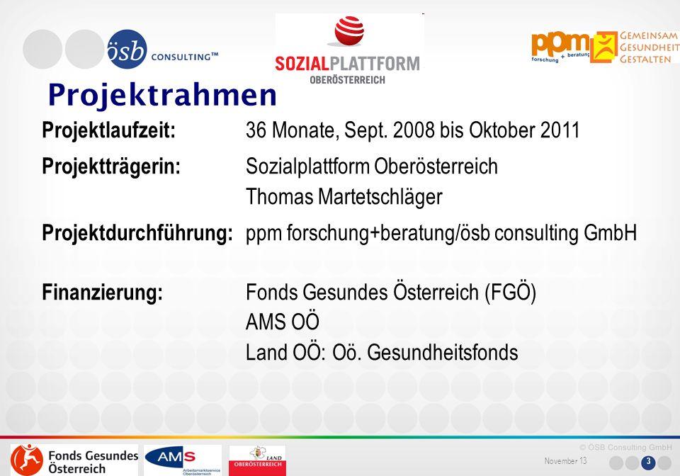 November 13 3 Projektrahmen Projektlaufzeit: 36 Monate, Sept. 2008 bis Oktober 2011 Projektträgerin: Sozialplattform Oberösterreich Thomas Martetschlä