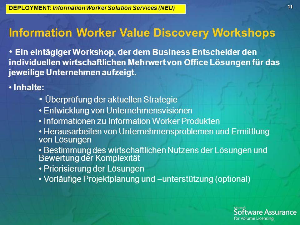 11 Information Worker Value Discovery Workshops Ein eintägiger Workshop, der dem Business Entscheider den individuellen wirtschaftlichen Mehrwert von Office Lösungen für das jeweilige Unternehmen aufzeigt.