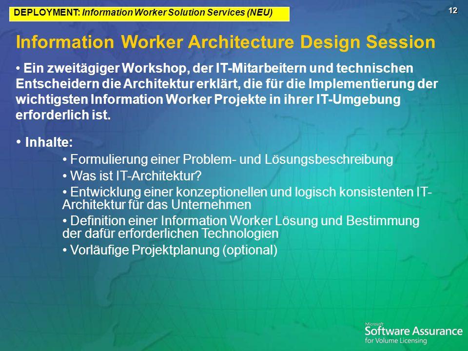 12 Information Worker Architecture Design Session Ein zweitägiger Workshop, der IT-Mitarbeitern und technischen Entscheidern die Architektur erklärt, die für die Implementierung der wichtigsten Information Worker Projekte in ihrer IT-Umgebung erforderlich ist.