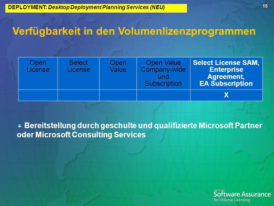15 Verfügbarkeit in den Volumenlizenzprogrammen Bereitstellung durch geschulte und qualifizierte Microsoft Partner oder Microsoft Consulting Services