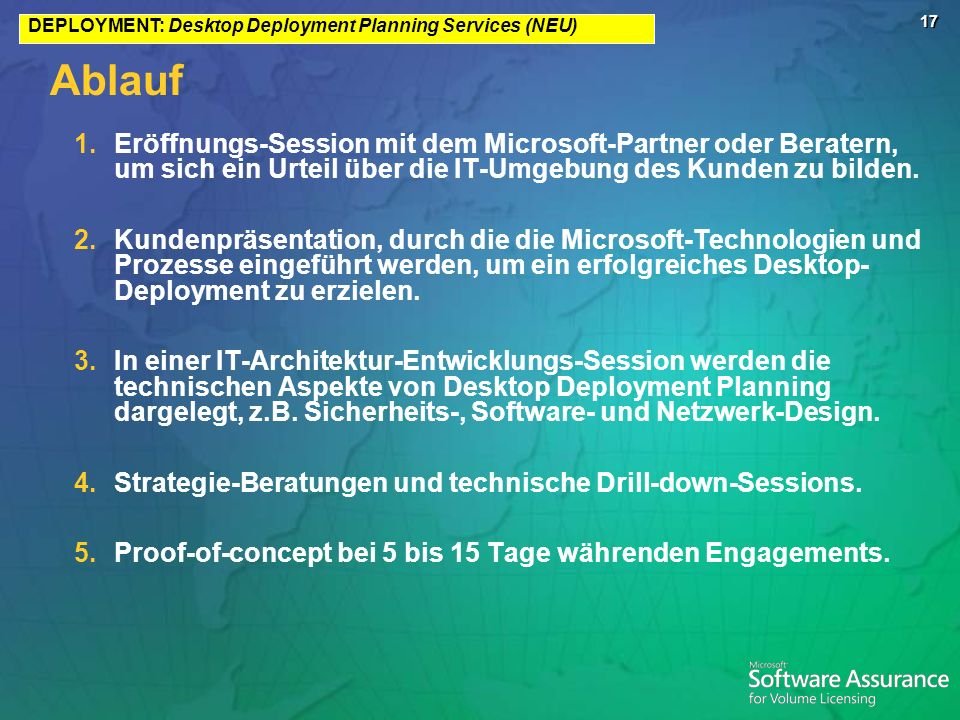 17 Ablauf 1.Eröffnungs-Session mit dem Microsoft-Partner oder Beratern, um sich ein Urteil über die IT-Umgebung des Kunden zu bilden. 2.Kundenpräsenta