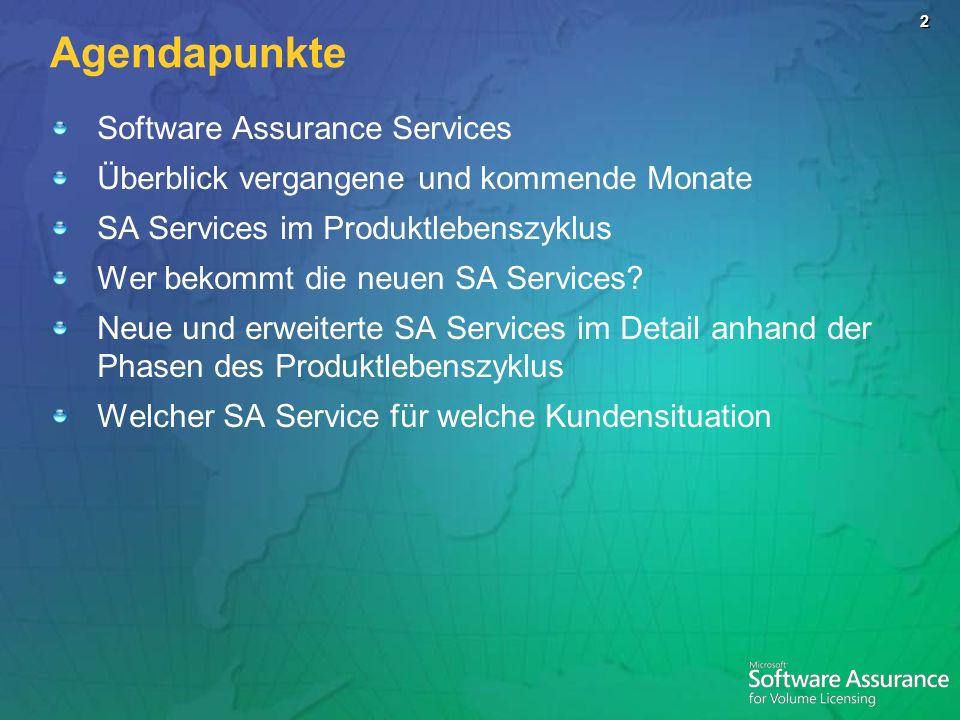 2 Agendapunkte Software Assurance Services Überblick vergangene und kommende Monate SA Services im Produktlebenszyklus Wer bekommt die neuen SA Servic