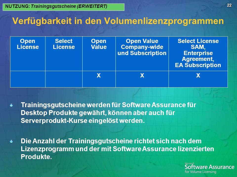22 Verfügbarkeit in den Volumenlizenzprogrammen NUTZUNG: Trainingsgutscheine (ERWEITERT) Open License Select License Open Value Open Value Company-wid