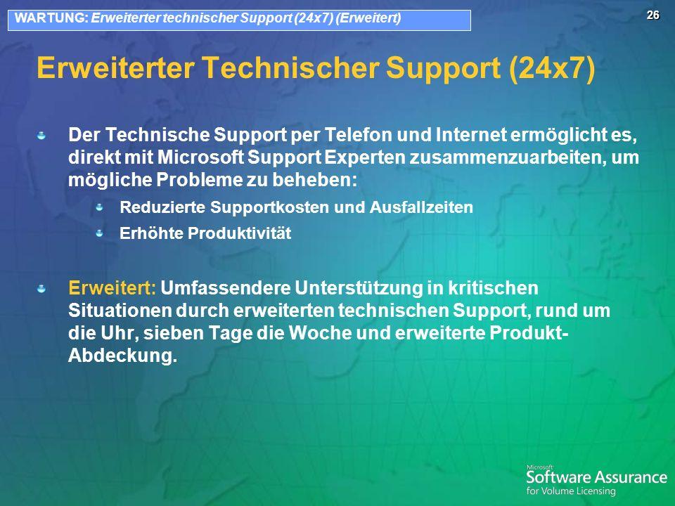 26 Erweiterter Technischer Support (24x7) Der Technische Support per Telefon und Internet ermöglicht es, direkt mit Microsoft Support Experten zusamme