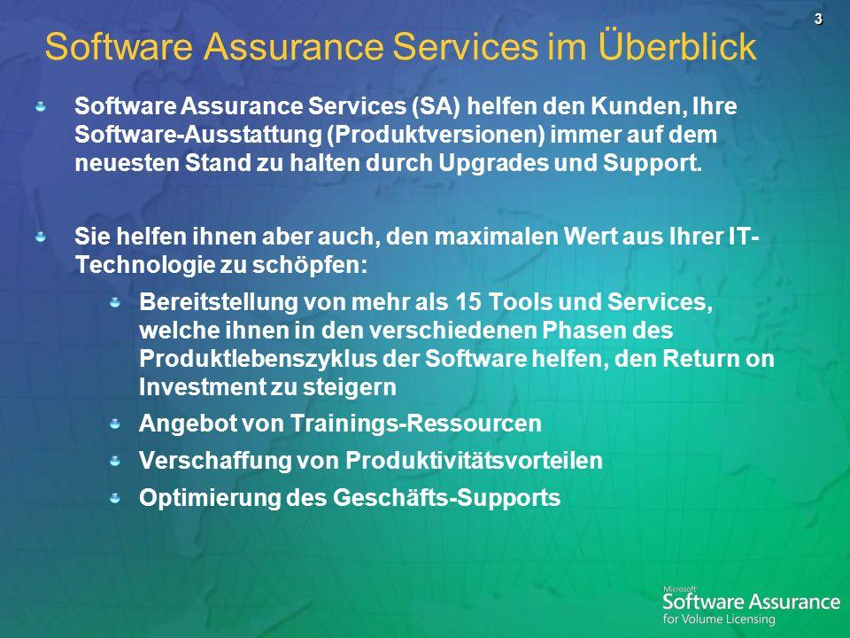 3 Software Assurance Services im Überblick Software Assurance Services (SA) helfen den Kunden, Ihre Software-Ausstattung (Produktversionen) immer auf