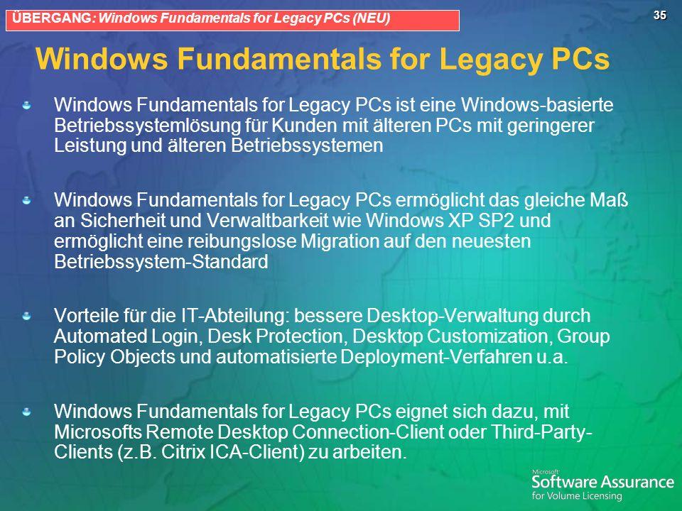 35 Windows Fundamentals for Legacy PCs Windows Fundamentals for Legacy PCs ist eine Windows-basierte Betriebssystemlösung für Kunden mit älteren PCs m