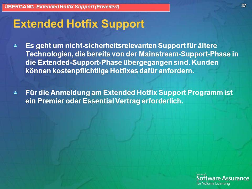 37 Extended Hotfix Support ÜBERGANG: Extended Hotfix Support (Erweitert) Es geht um nicht-sicherheitsrelevanten Support für ältere Technologien, die bereits von der Mainstream-Support-Phase in die Extended-Support-Phase übergegangen sind.