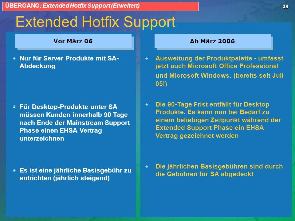 38 Extended Hotfix Support Vor März 06 Ab März 2006 Nur für Server Produkte mit SA- Abdeckung Für Desktop-Produkte unter SA müssen Kunden innerhalb 90 Tage nach Ende der Mainstream Support Phase einen EHSA Vertrag unterzeichnen Es ist eine jährliche Basisgebühr zu entrichten (jährlich steigend) Ausweitung der Produktpalette - umfasst jetzt auch Microsoft Office Professional und Microsoft Windows.