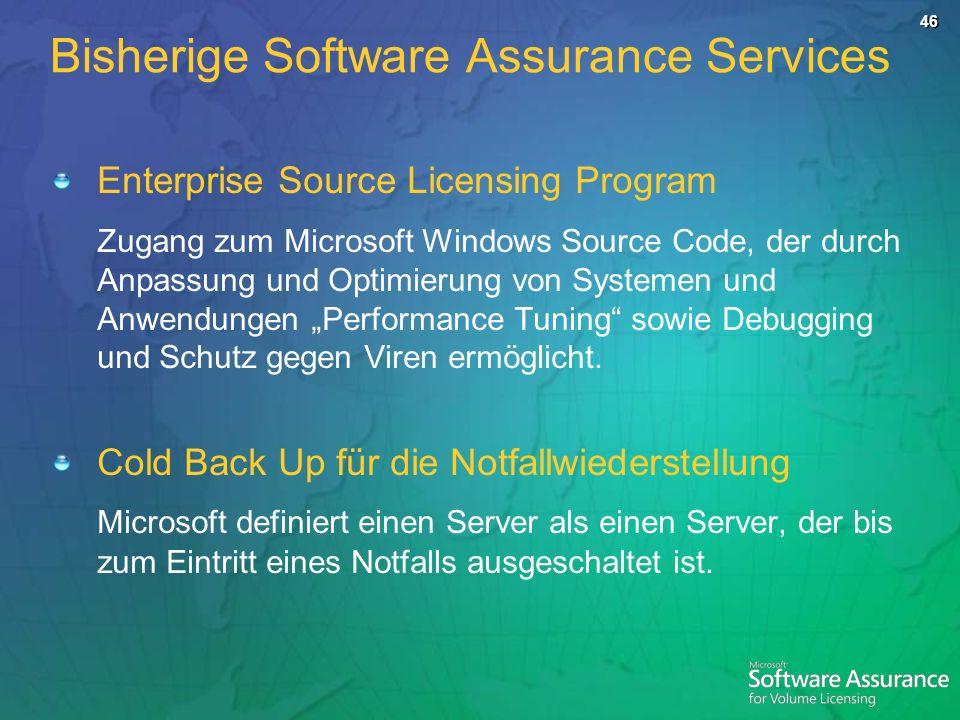46 Enterprise Source Licensing Program Zugang zum Microsoft Windows Source Code, der durch Anpassung und Optimierung von Systemen und Anwendungen Performance Tuning sowie Debugging und Schutz gegen Viren ermöglicht.