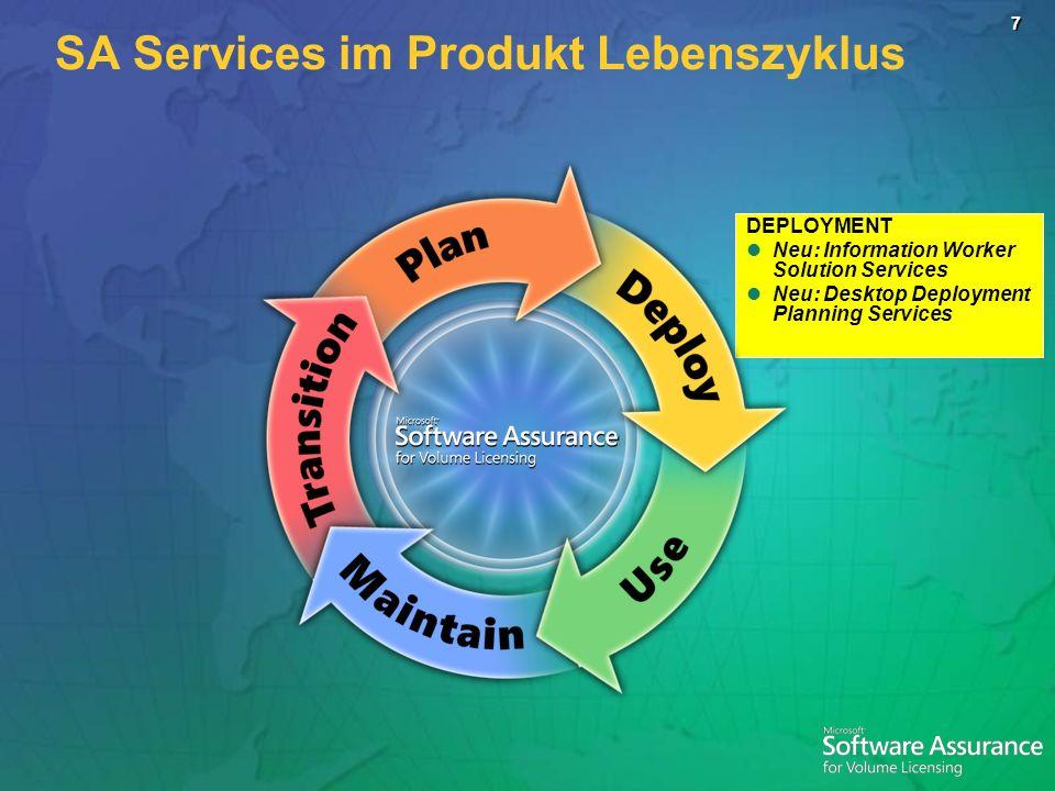 7 DEPLOYMENT Neu: Information Worker Solution Services Neu: Desktop Deployment Planning Services SA Services im Produkt Lebenszyklus