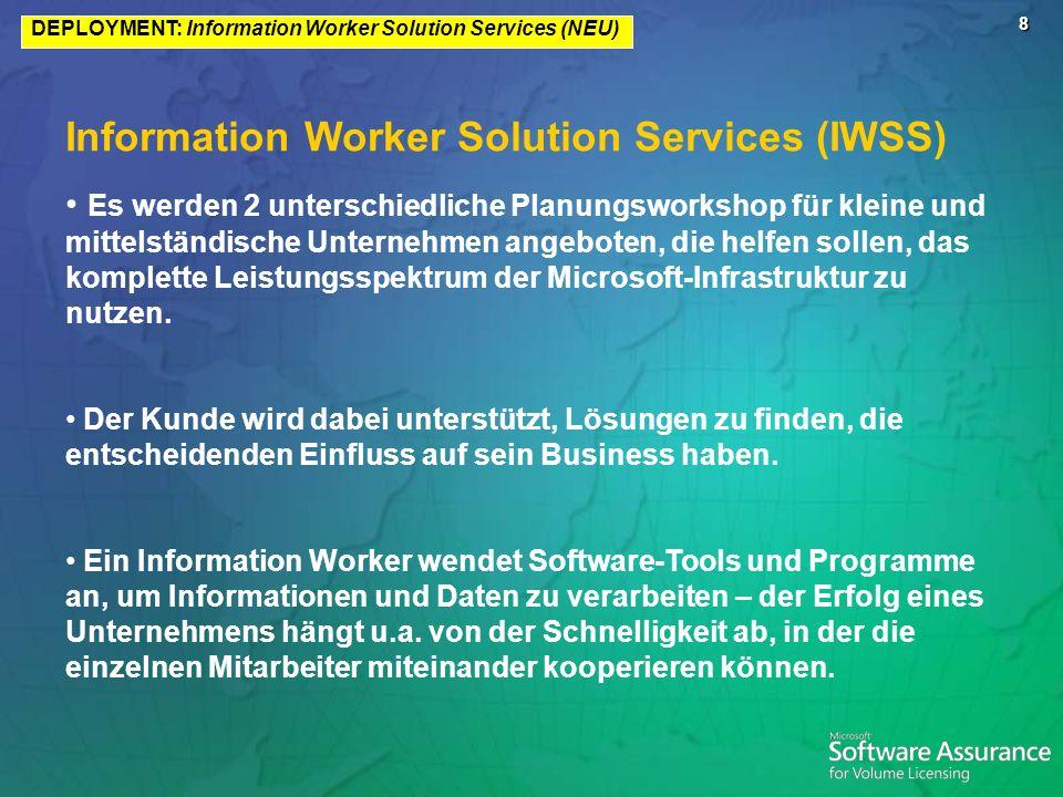 8 Information Worker Solution Services (IWSS) Es werden 2 unterschiedliche Planungsworkshop für kleine und mittelständische Unternehmen angeboten, die helfen sollen, das komplette Leistungsspektrum der Microsoft-Infrastruktur zu nutzen.