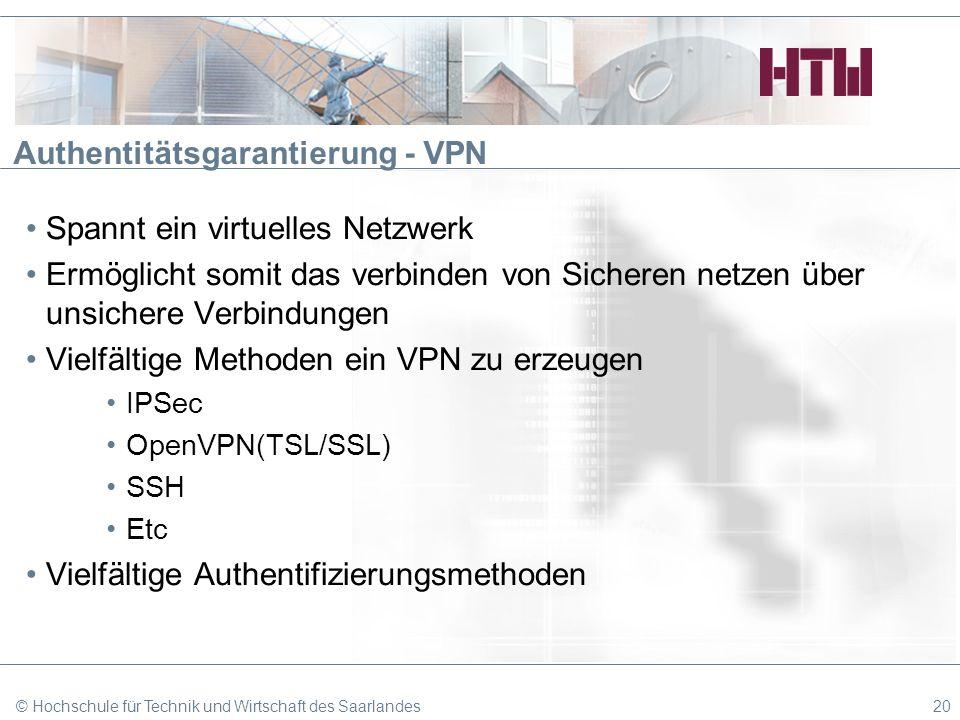 Authentitätsgarantierung - VPN Spannt ein virtuelles Netzwerk Ermöglicht somit das verbinden von Sicheren netzen über unsichere Verbindungen Vielfälti