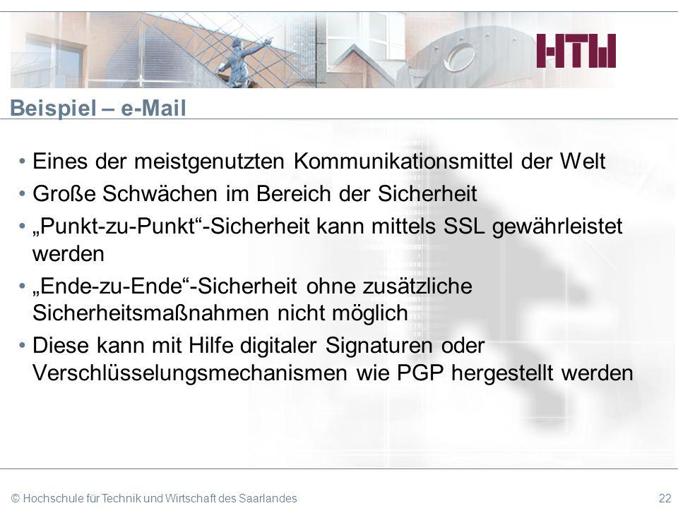Beispiel – e-Mail Eines der meistgenutzten Kommunikationsmittel der Welt Große Schwächen im Bereich der Sicherheit Punkt-zu-Punkt-Sicherheit kann mitt