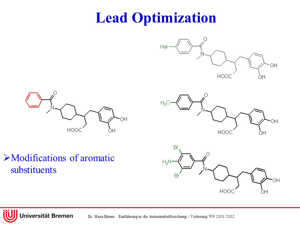 Dr. Hans Briem Einführung in die Arzneimittelforschung - Vorlesung WS 2001/2002 Modifications of aromatic substituents Lead Optimization