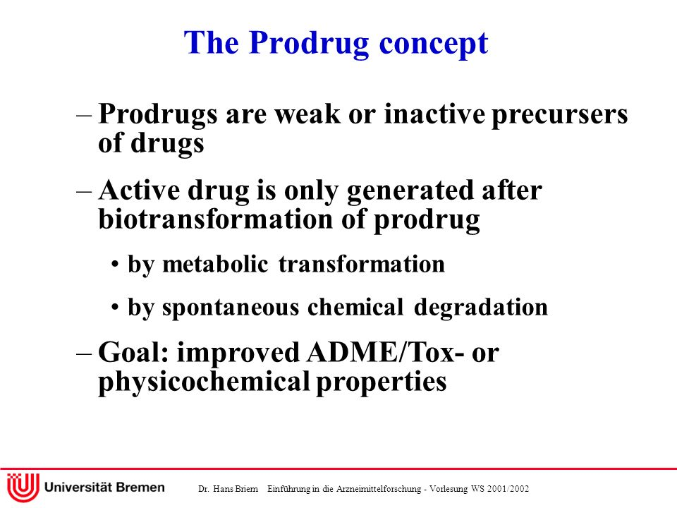 Dr. Hans Briem Einführung in die Arzneimittelforschung - Vorlesung WS 2001/2002 The Prodrug concept –Prodrugs are weak or inactive precursers of drugs