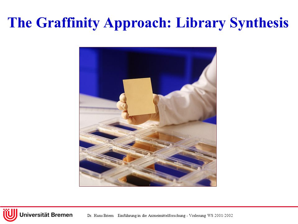 Dr. Hans Briem Einführung in die Arzneimittelforschung - Vorlesung WS 2001/2002 Technology The Graffinity Approach: Library Synthesis