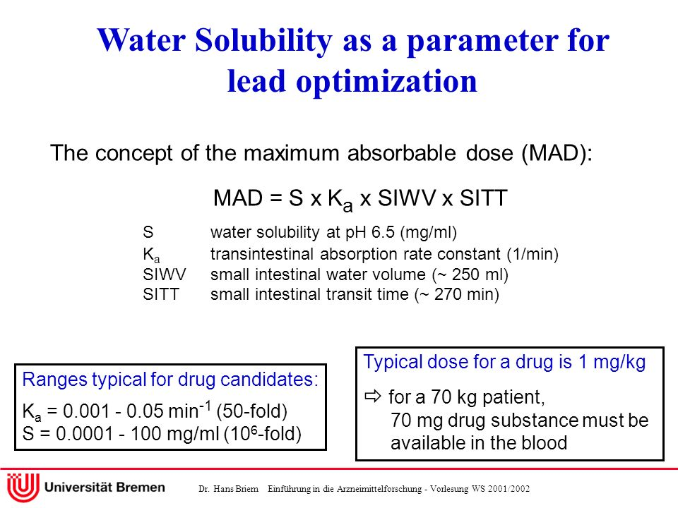 Dr. Hans Briem Einführung in die Arzneimittelforschung - Vorlesung WS 2001/2002 The concept of the maximum absorbable dose (MAD): MAD = S x K a x SIWV
