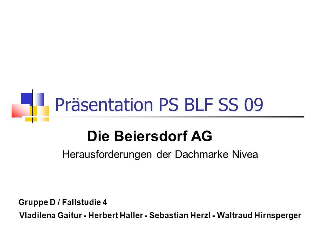 Präsentation PS BLF SS 09 Die Beiersdorf AG Herausforderungen der Dachmarke Nivea Gruppe D / Fallstudie 4 Vladilena Gaitur - Herbert Haller - Sebastia