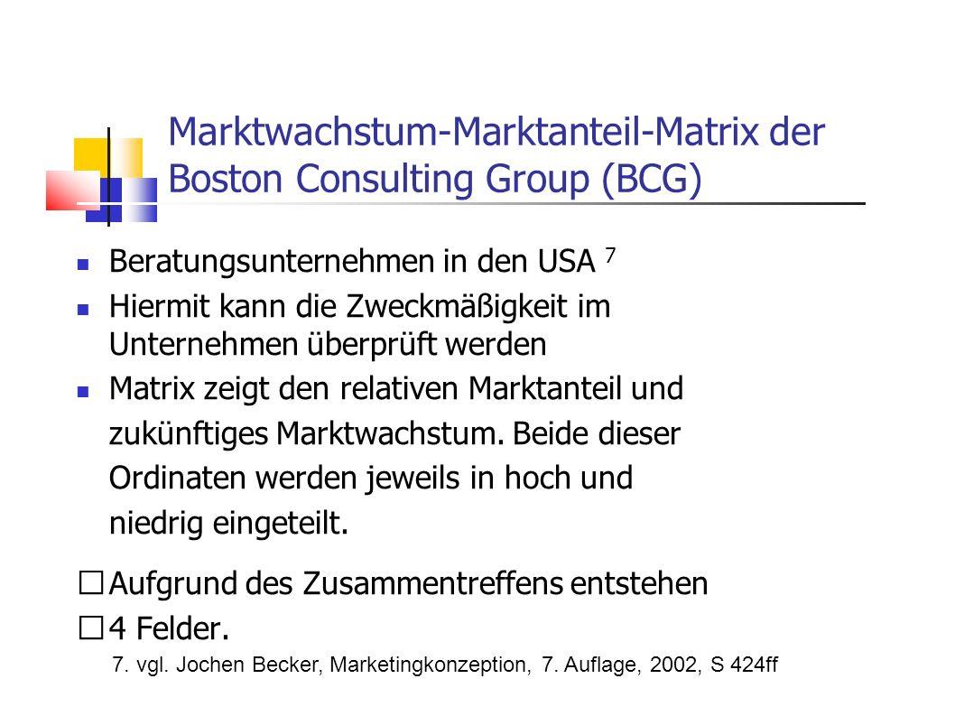 Beratungsunternehmen in den USA 7 Hiermit kann die Zweckmäßigkeit im Unternehmen überprüft werden Matrix zeigt den relativen Marktanteil und zukünftig
