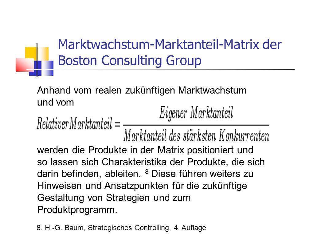 Anhand vom realen zukünftigen Marktwachstum und vom werden die Produkte in der Matrix positioniert und so lassen sich Charakteristika der Produkte, di