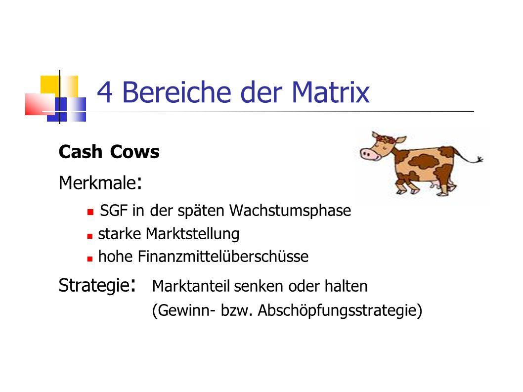 4 Bereiche der Matrix Cash Cows Merkmale : SGF in der späten Wachstumsphase starke Marktstellung hohe Finanzmittelüberschüsse Strategie : Marktanteil