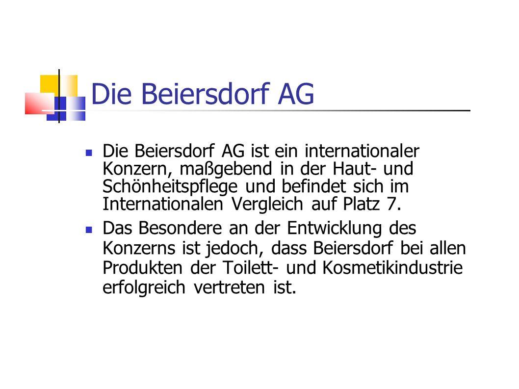 Die Beiersdorf AG ist ein internationaler Konzern, maßgebend in der Haut- und Schönheitspflege und befindet sich im Internationalen Vergleich auf Plat