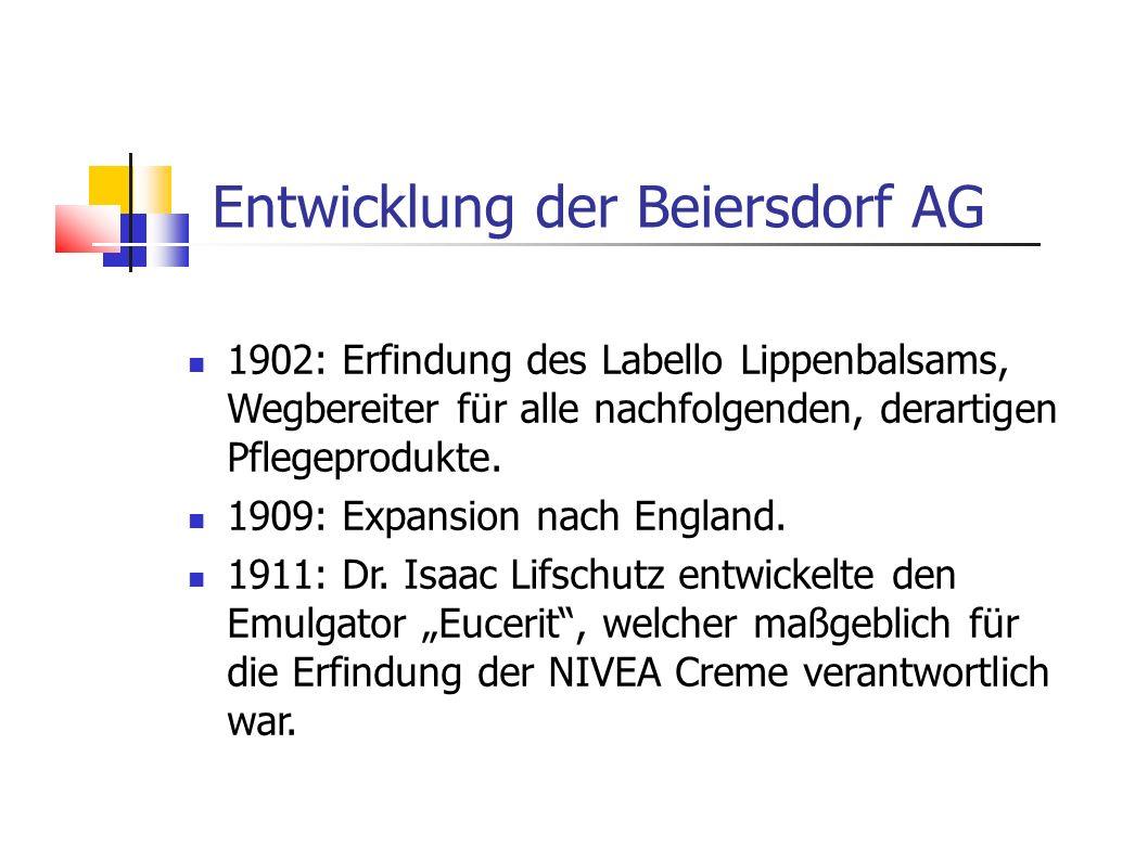 1902: Erfindung des Labello Lippenbalsams, Wegbereiter für alle nachfolgenden, derartigen Pflegeprodukte. 1909: Expansion nach England. 1911: Dr. Isaa