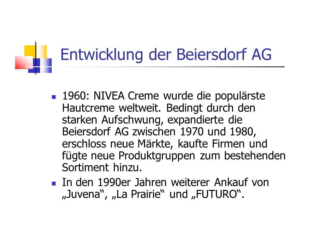 1960: NIVEA Creme wurde die populärste Hautcreme weltweit. Bedingt durch den starken Aufschwung, expandierte die Beiersdorf AG zwischen 1970 und 1980,