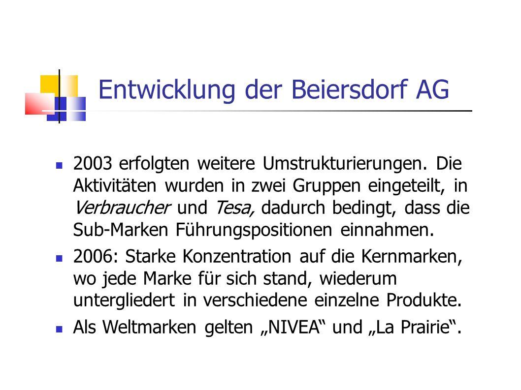 2003 erfolgten weitere Umstrukturierungen. Die Aktivitäten wurden in zwei Gruppen eingeteilt, in Verbraucher und Tesa, dadurch bedingt, dass die Sub-M