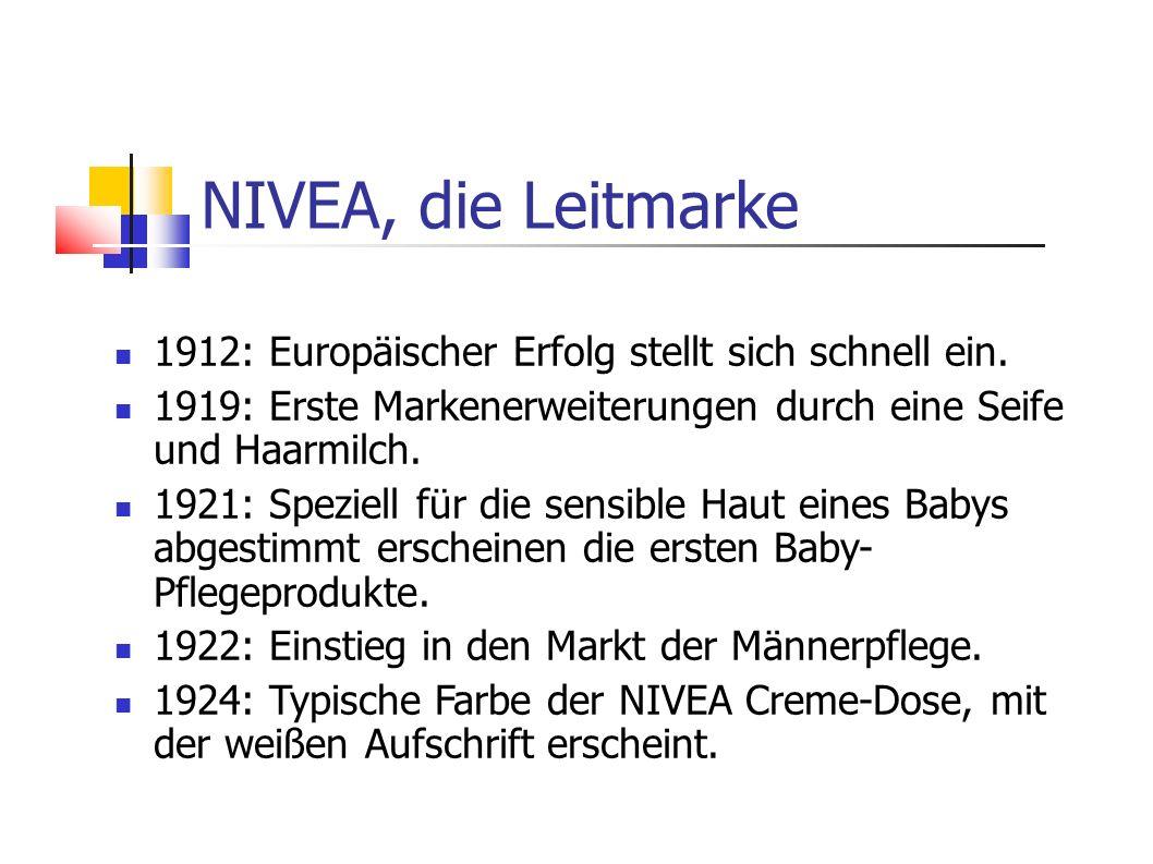 1912: Europäischer Erfolg stellt sich schnell ein. 1919: Erste Markenerweiterungen durch eine Seife und Haarmilch. 1921: Speziell für die sensible Hau