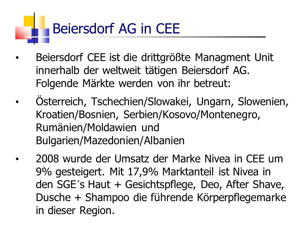 Beiersdorf AG in CEE Beiersdorf CEE ist die drittgrößte Managment Unit innerhalb der weltweit tätigen Beiersdorf AG. Folgende Märkte werden von ihr be