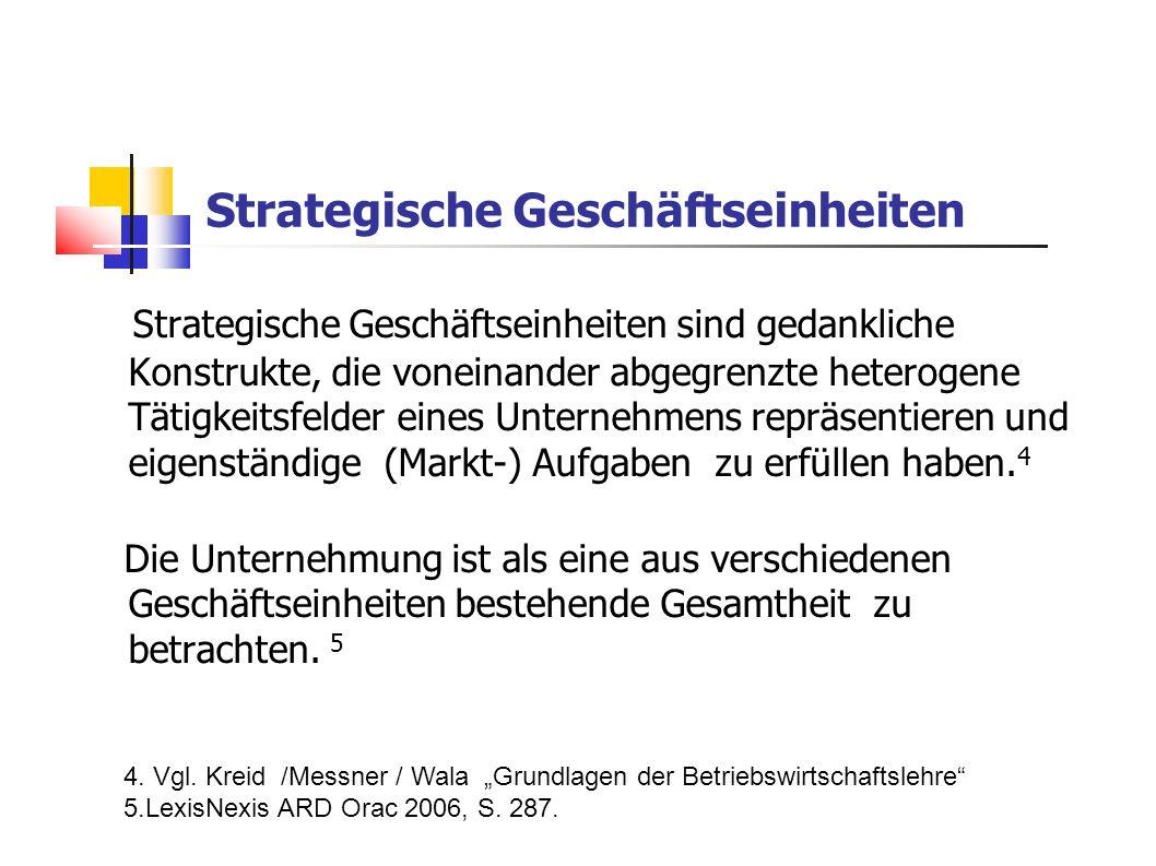 Strategische Geschäftseinheiten Strategische Geschäftseinheiten sind gedankliche Konstrukte, die voneinander abgegrenzte heterogene Tätigkeitsfelder e