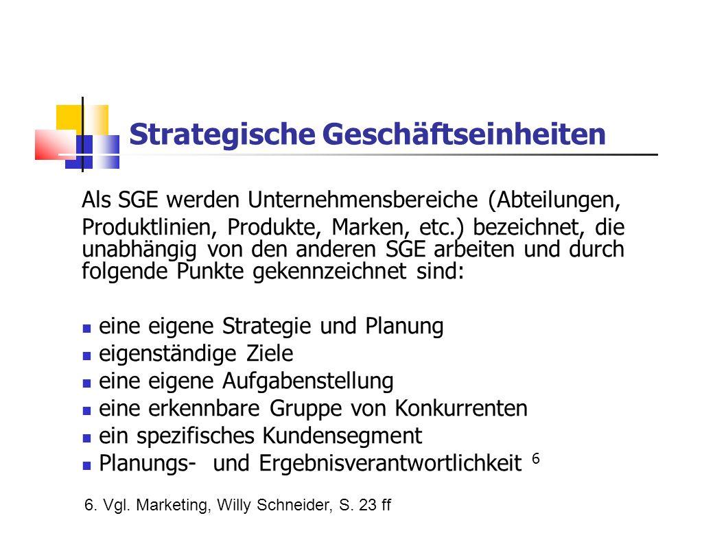 Strategische Geschäftseinheiten Als SGE werden Unternehmensbereiche (Abteilungen, Produktlinien, Produkte, Marken, etc.) bezeichnet, die unabhängig vo