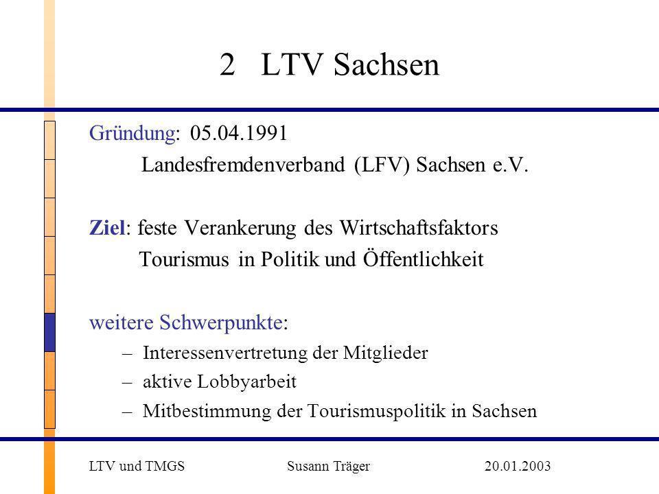 2 LTV Sachsen Gründung: 05.04.1991 Landesfremdenverband (LFV) Sachsen e.V. Ziel: feste Verankerung des Wirtschaftsfaktors Tourismus in Politik und Öff