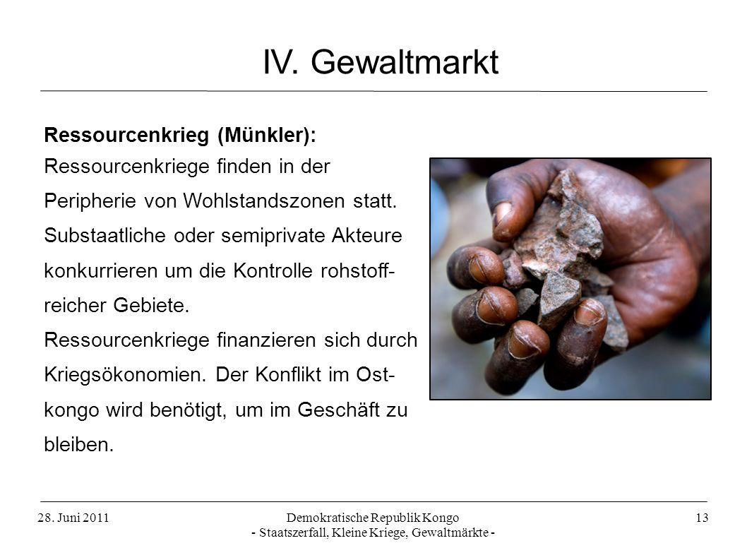 28. Juni 2011Demokratische Republik Kongo - Staatszerfall, Kleine Kriege, Gewaltmärkte - 13 IV. Gewaltmarkt Ressourcenkrieg (Münkler): Ressourcenkrieg