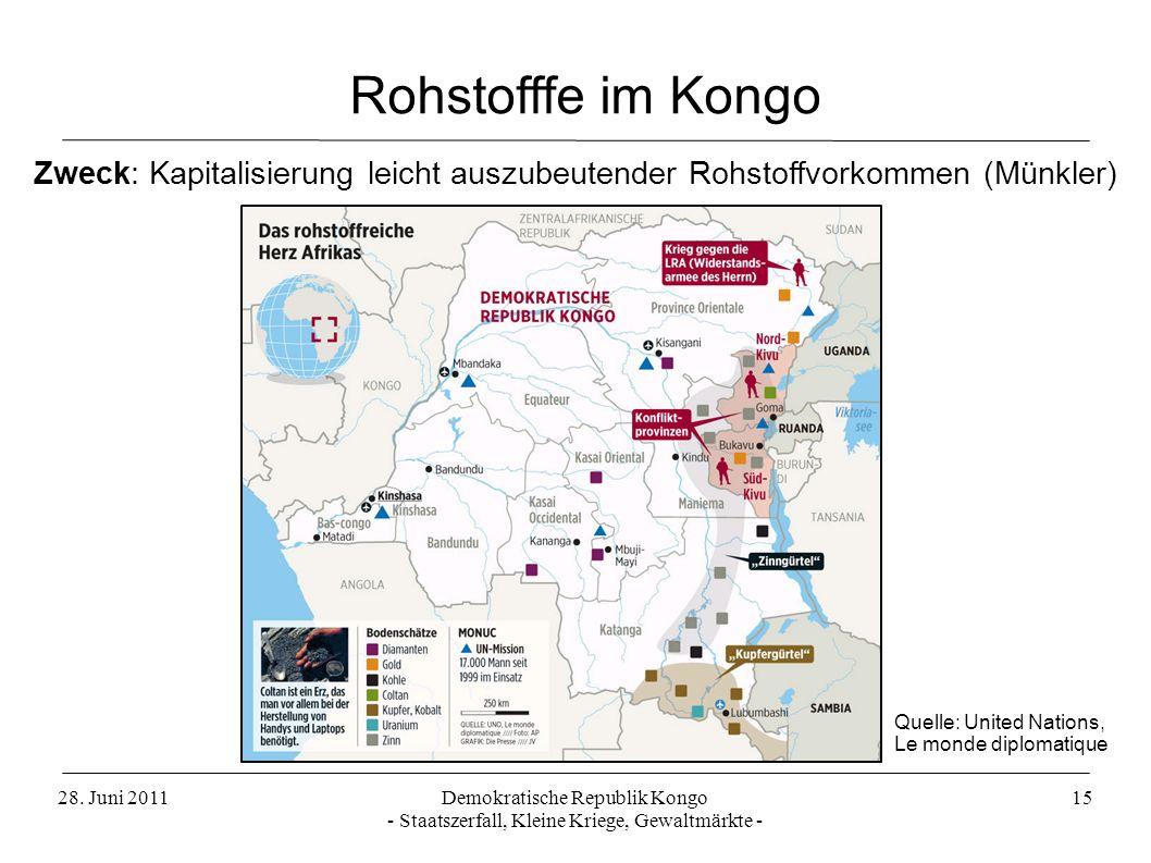 28. Juni 2011Demokratische Republik Kongo - Staatszerfall, Kleine Kriege, Gewaltmärkte - 15 Rohstofffe im Kongo Zweck: Kapitalisierung leicht auszubeu