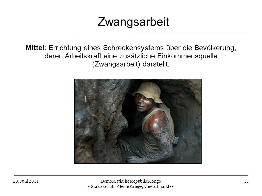 28. Juni 2011Demokratische Republik Kongo - Staatszerfall, Kleine Kriege, Gewaltmärkte - 18 Mittel: Errichtung eines Schreckensystems über die Bevölke