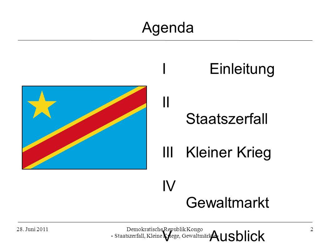 Demokratische Republik Kongo - Staatszerfall, Kleine Kriege, Gewaltmärkte - 2 I Einleitung II Staatszerfall III Kleiner Krieg IV Gewaltmarkt V Ausblic