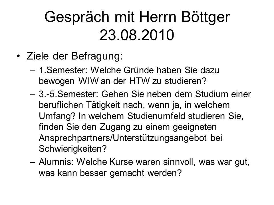 Gespräch mit Herrn Böttger 23.08.2010 Ziele der Befragung: –1.Semester: Welche Gründe haben Sie dazu bewogen WIW an der HTW zu studieren.