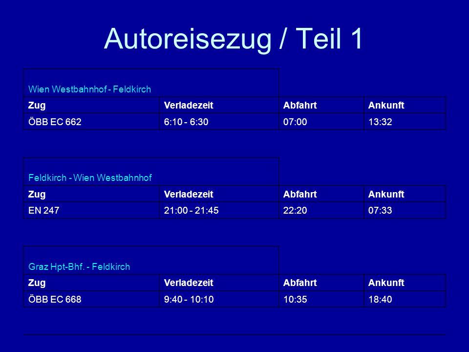Autoreisezug / Teil 1 Wien Westbahnhof - Feldkirch ZugVerladezeitAbfahrtAnkunft ÖBB EC 6626:10 - 6:3007:0013:32 Feldkirch - Wien Westbahnhof ZugVerladezeitAbfahrtAnkunft EN 24721:00 - 21:4522:2007:33 Graz Hpt-Bhf.