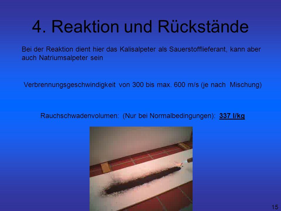 15 4. Reaktion und Rückstände Verbrennungsgeschwindigkeit von 300 bis max. 600 m/s (je nach Mischung) Rauchschwadenvolumen: (Nur bei Normalbedingungen