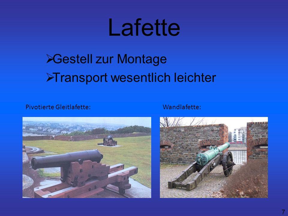 7 Lafette Gestell zur Montage Transport wesentlich leichter Pivotierte Gleitlafette:Wandlafette: