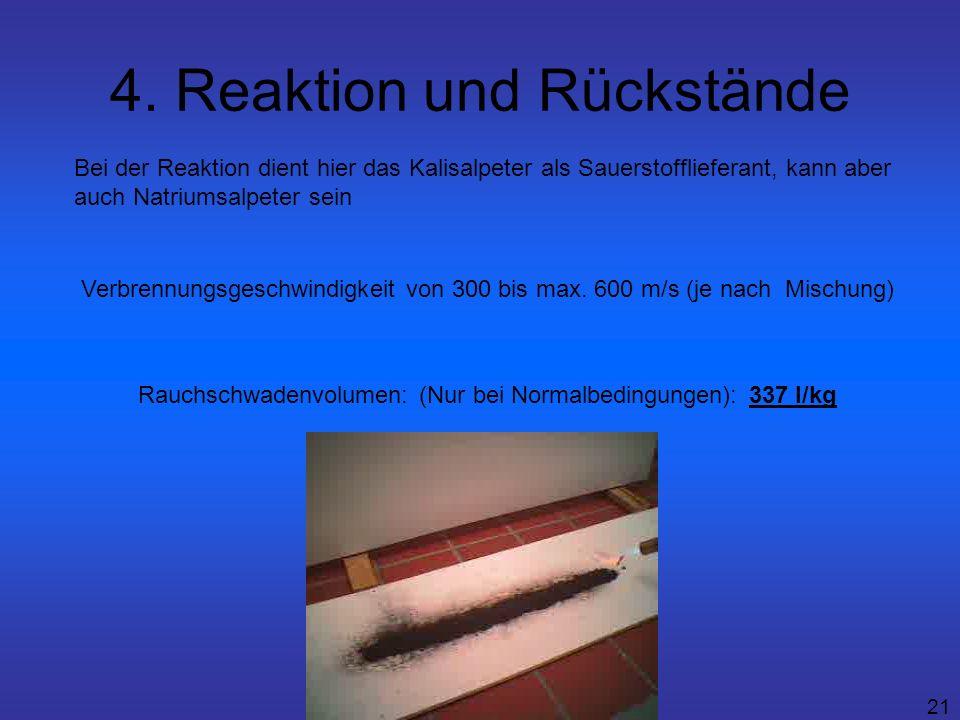 21 4. Reaktion und Rückstände Verbrennungsgeschwindigkeit von 300 bis max. 600 m/s (je nach Mischung) Rauchschwadenvolumen: (Nur bei Normalbedingungen