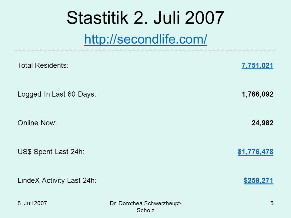 5. Juli 2007Dr. Dorothea Schwarzhaupt- Scholz 16
