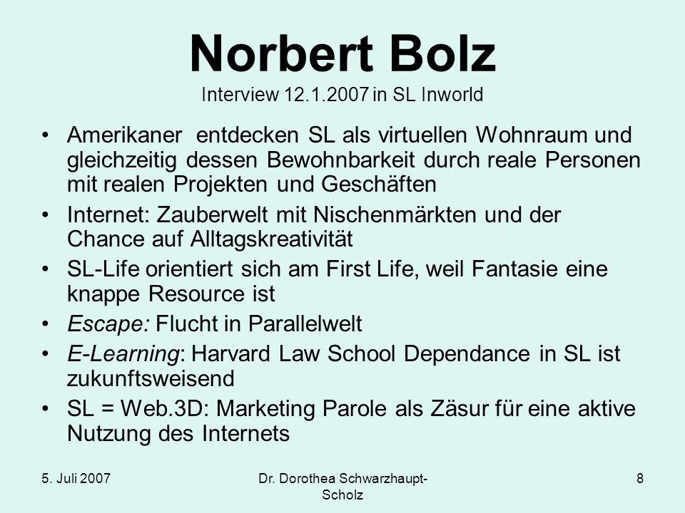 5. Juli 2007Dr. Dorothea Schwarzhaupt- Scholz 8 Norbert Bolz Interview 12.1.2007 in SL Inworld Amerikaner entdecken SL als virtuellen Wohnraum und gle