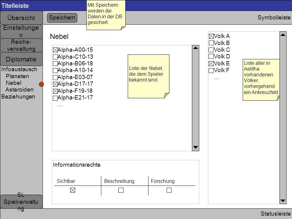 Titelleiste Statusleiste Symbolleiste Nebel Liste der Nebel, die dem Spieler bekannt sind. Speichern Mit Speichern werden die Daten in der DB gesicher