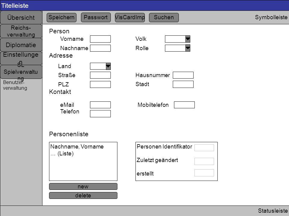 Titelleiste Statusleiste Symbolleiste Übersicht Einstellunge n Diplomatie Reichs- verwaltung SL Spielverwaltu ng Benutzer- verwaltung Person Vorname N