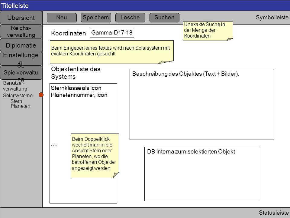 Titelleiste Statusleiste Symbolleiste Übersicht Einstellunge n Diplomatie Reichs- verwaltung SL Spielverwaltu ng Benutzer- verwaltung Koordinaten Gamm