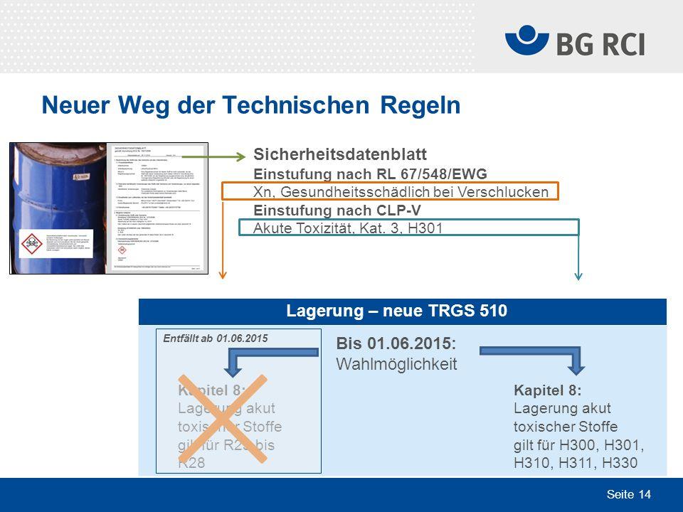 Seite 14 Neuer Weg der Technischen Regeln Lagerung – neue TRGS 510 Bis 01.06.2015: Wahlmöglichkeit Kapitel 8: Lagerung akut toxischer Stoffe gilt für
