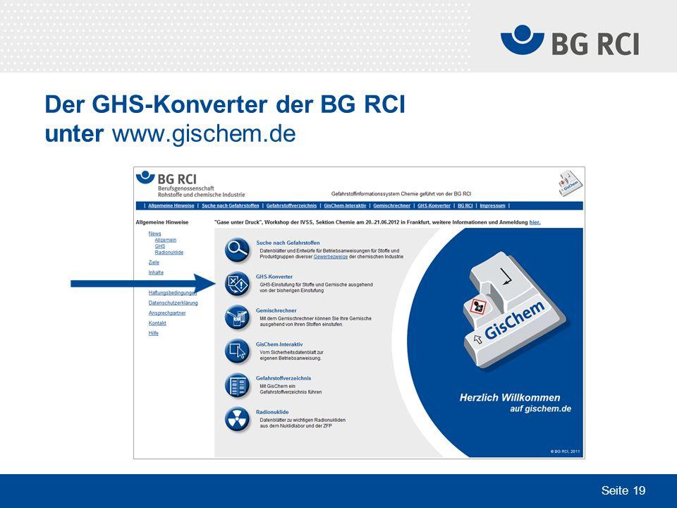 Seite 19 Der GHS-Konverter der BG RCI unter www.gischem.de